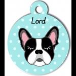 Médaille personnalisée bleu chien noir et blanc oreilles droites