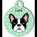 Médaille personnalisée vert chien noir et blanc oreilles droites