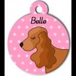Médaille personnalisée rose chien marron clair oreilles longues