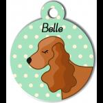 Médaille personnalisée vert chien marron clair oreilles longues