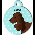 Médaille personnalisée bleu  chien marron foncé oreilles longues