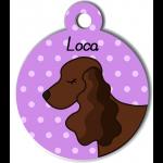 Médaille personnalisée violet chien marron foncé oreilles longues