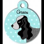 Médaille personnalisée bleu chien gros et noir oreilles longues