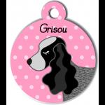 Médaille personnalisée rose chien gros et noir oreilles longues
