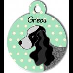 Médaille personnalisée vert chien gros et noir oreilles longues