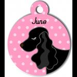 Médaille personnalisée rose chien noir oreilles longues