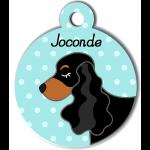 Médaille personnalisée bleu chien noir et marron oreilles longues