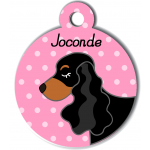 Médaille personnalisée rose chien noir et marron oreilles longues