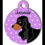 Médaille personnalisée violet chien noir et marron oreilles longues