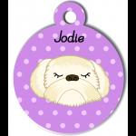 Médaille personnalisée violet chien crème poils longs