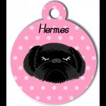 Médaille personnalisée rose chien noir poils longs