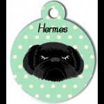 Médaille personnalisée vert chien noir poils longs