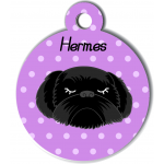 Médaille personnalisée violet chien noir poils longs