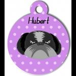 Médaille personnalisée violet chien gris et noir poils longs