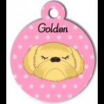 Médaille personnalisée rose chien abricot poils longs