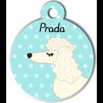 Médaille personnalisée bleu chien frisé oreilles longues blanc