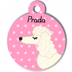 Médaille personnalisée rose chien frisé oreilles longues blanc