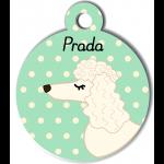 Médaille personnalisée vert chien frisé oreilles longues blanc