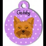 Médaille personnalisée violet chien marron clair poils mi longs