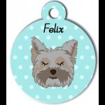 Médaille personnalisée rose chien gris poils mi bleu