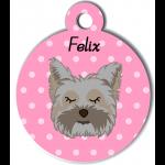 Médaille personnalisée rose chien gris poils mi longs