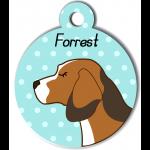 Médaille personnalisée bleu chien marron clair tâches marron foncé et blanches