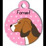 Médaille personnalisée rose chien marron clair tâches marron foncé et blanches