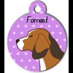 Médaille personnalisée violet chien marron clair tâches marron foncé et blanches