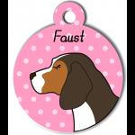 Médaille personnalisée rose chien marron fonce tâches marron clair et blanches