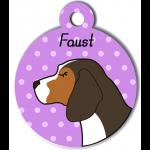 Médaille personnalisée violet chien marron fonce tâches marron clair et blanches