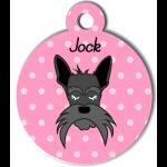 Médaille personnalisée rose chien gris moustaches longues