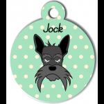 Médaille personnalisée vert chien gris moustaches longues