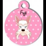 Médaille personnalisée rose chien blanc moustaches longues
