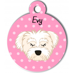 Médaille personnalisée rose chien blanc poils mi longs