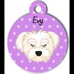 Médaille personnalisée violet chien blanc poils mi longs