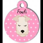 Médaille personnalisée rose chien frisé crème