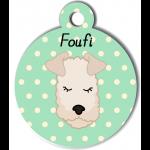 Médaille personnalisée vert chien frisé crème