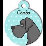 Médaille personnalisée bleu chien gris foncé poils courts