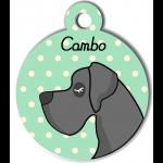 Médaille personnalisée vert chien gris foncé poils courts