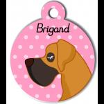 Médaille personnalisée rose chien caramel et marron poils courts