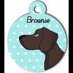 Médaille personnalisée bleu chien marron foncé poils courts