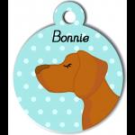 Médaille personnalisée bleu chien caramel poils courts