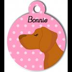Médaille personnalisée rose chien caramel poils courts