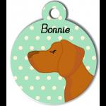 Médaille personnalisée vert chien caramel poils courts