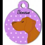 Médaille personnalisée violet chien caramel poils courts