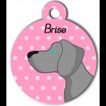 Médaille personnalisée rose chien gris clair poils courts