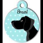 Médaille personnalisée bleu chien noir poils courts