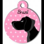 Médaille personnalisée rose chien noir poils courts