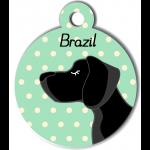 Médaille personnalisée vert chien noir poils courts