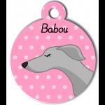 Médaille personnalisée rose chien fin gris